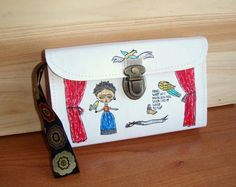 Frida Kahlo Fan Hand Purse White Fabric Paper by microbio on Etsy