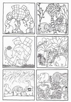 6 images séquentielles d' Elmer de David Mc Kee , édition Kaleidoscope, école des loisirs