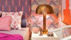 kelly wearstler orange pink bedroom AM