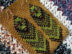 Long Fringed Native American Beaded Earrings by hoofandarrow