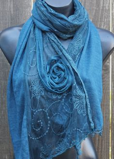 Sheer Cotton and Lace Long Wrap/Scarf with Rosette by heartoflotus, Love these.