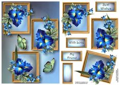 Beautiful Blue Iris Frame Trio - CraftsuPrint