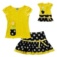 "You're little one will be a ray of sunshine in this adorable matching skirt set for her and her dollie! ""Sweet as a Daisy"" Skirt Set with Matching Outfit for 18 inch Play Doll"