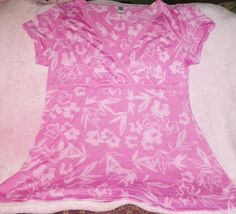 Womens Flower Shirt Pink With Light Pink Flowers Leaf Has V Neck Used Good Small