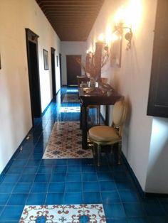 Il Borgo di Castelvecchio striking blue-tiled flooring. http://www.facebook.com/celebratetravelinc