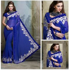 JAYSAREES BLOG WORLD: Beautiful attractive Shimmerry Georgette Saree
