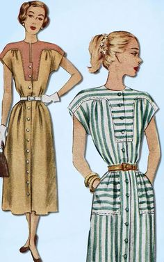 1940s Vintage McCall Sewing Pattern 7212 Misses Street Dress Size 16 34 Bust