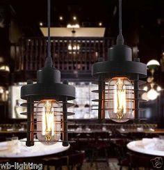 Industrial Vintage Black Metal Circle Ceiling Lamp Pendant Light LED Edison Bulb
