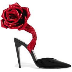 Saint Laurent Freja appliquéd patent-leather pumps Черные Каблуки, Красные  Тыквы, Лодочки С 2412bebd434