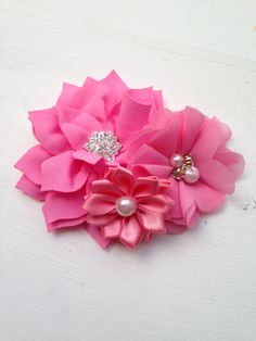 New to LaBellaRoseBoutique on Etsy: Pink Hair Clip Pink flowers on hair clip pink wedding girl hair clip baby flower girl pink hair accessory baby toddler women hair piece pink (7.50 USD)