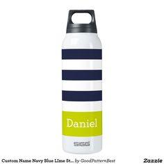 Custom Name Navy Blue LIme Stripes Thermos Bottle