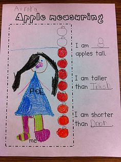 From j Williamson For children to use with apple die cuts on the wall to compare their heights with the heights of things in the classroom.