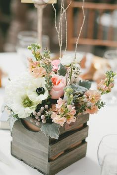 Wedding Centerpieces 25 Simple and Cute Rustic Wooden Box Centerpiece Ideas to Make Your Decoration … Wooden Box Centerpiece, Rustic Wedding Centerpieces, Wedding Decorations, Centerpiece Ideas, Wedding Rustic, Centerpiece Flowers, Rustic Weddings, Wedding Vintage, Wedding Shabby Chic