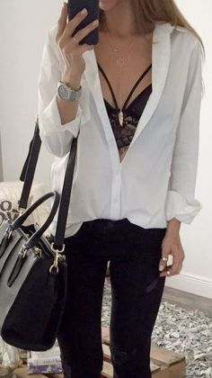 Button down tops with lace bralettes under are a great pair!