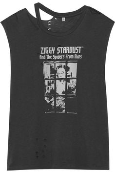 R13 BOWIE DISTRESSED PRINTED COTTON-BLEND JERSEY T-SHIRT $116 http://www.theoutnet.com/product/808697