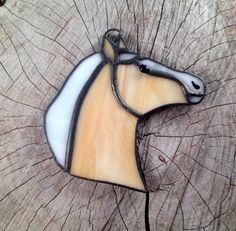 Stained glass ornament palomino horse by SunDogArtAndGlass on Etsy
