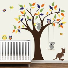 Vinyl Wall Decal Tree with KangarooKoala by Modernwalls on Etsy, $140.00