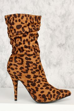 """Leopard Print Pointy Toe Slouchy Mid Calf Booties Faux Suede NOW $8.00* * Price With Coupon """"#shoes #boots #womensfashion #genuine #vintage #chanel #streetstyle #stylish #outfit #fashionista #heels #designers #instafashion #ootd #lookbook #brands #summer #eveningwear #sandals #lifestyle"""""""