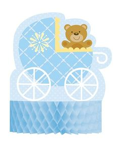 The Teddy Baby Blue Honeycomb Centerpiece is sure to be an eye-catching favorite displayed atop the baby shower buffet or gift table.  The centerpiece features a pastel blue honeycomb base that showcases a delightful die cut image of a cuddly teddy riding in a vintage carriage.  The carriage has a blue and white cross hatch pattern with minor yellow detailing while the overall background is a light blue.  The Teddy Baby Blue Centerpiece measures approximately 11 inches tall and is sold ...