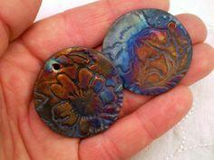 2 Raku Beads, Rustic Raku Beads, Raku Bead Set, Raku Ceramic Beads, Raku Pottery Beads, Raku Clay Beads, Handmade Beads (A34) by spinningstarstudio on Etsy