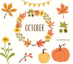 CLIP ART - October - for commercial and personal use