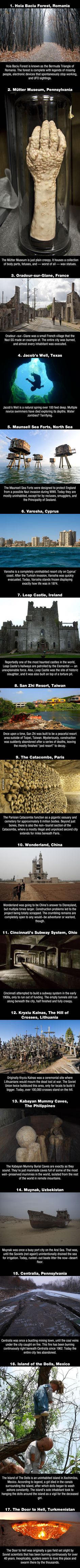 Post with 1932 votes and 46010 views. Shared by The 17 Scariest Places On Earth. Dare To Live In Any One Of Them For A Month For 1 Million? Scary Places, Haunted Places, Abandoned Places, Places To Travel, Places To See, Creepy Stories, All Nature, Wtf Fun Facts, Around The Worlds