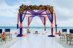 Beach Wedding Inspirations - Purple and Orange Mandap Decor | WedMeGood #weddings #beachindianwedding #wedmegood #beach