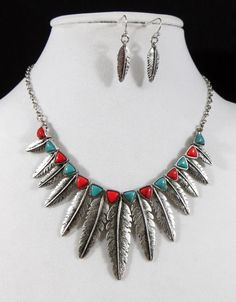 COWGIRL bling Gypsy Feathers Native Turquoise Coral Boho Western Necklace set all JEWELRY SHIPS FREE! www.baharanchwesternwear.com baha ranch western wear ebay seller id soloedition