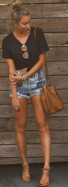 #summer #cool #outfits | Black Tee + Denim Shorts