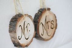 Mr and Mrs Wedding Reception Chair signs by LittleWeeShop, via Flickr