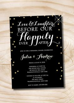 Love & Laughter Happily Ever After Gold Glitter confetti Rehearsal Dinner - Printable Digital Design file by PaperHeartCompany on Etsy Reception Only Wedding Invitations, Rehearsal Dinner Invitations, Rehearsal Dinners, Custom Stationery, Stationery Design, Custom Invitations, Glitter Confetti, Gold Glitter
