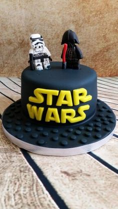 Star wars cake with lego style Darth Ada and a storm trooper.