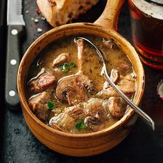 Steak and Ale Soup with Mushrooms. Steak and Ale Soup with Mushrooms a savory quick and delicious meal any day of the week. Beef Soup Recipes, Fall Soup Recipes, Gourmet Recipes, Cooking Recipes, Healthy Recipes, Dinner Recipes, Steak Recipes, Thanksgiving Recipes, Healthy Foods