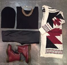 Here's another outfit I rather like with the dc martens, yet I dont like the cardigan