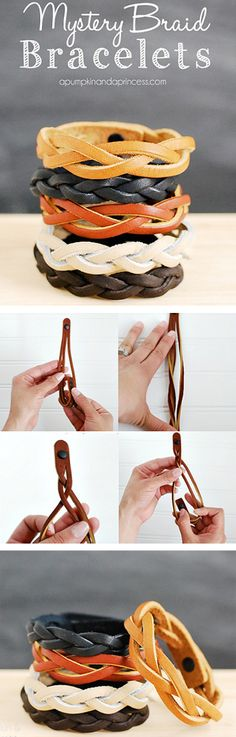 how to make mystery braid leather bracelets Leather Gifts, Leather Craft, Handmade Leather, Leather Accessories, Leather Jewelry, Leather Bracelets, Crea Cuir, Jewelry Crafts, Handmade Jewelry