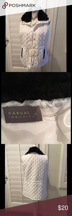 Casual Identity Womens Fur Collar Vest WHITE Never worn, great condition size medium casual identity Jackets & Coats Vests