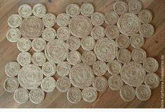 """Купить Коврик """"Цветы"""" - бежевый, коврик, джут, коврик на пол, натуральные материалы, джутовая нить"""