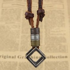 2016 Unisex Style Boho Hollow Out Square Cube Block Cow Pu Leather Cord Pendant Necklace Men/ Wommen Jewelery Bronze Color