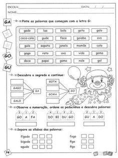 ALFABETIZAÇÃO CEFAPRO DE PONTES E LACERDA : Sugestão de Atividades com a letra G
