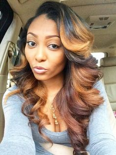 Online Shop Ombre hair color sew in human hair bundles and closure and frontal for brunettes colored hair for black off promotion factory cheap price,DHL worldwide shipping, store coupon available. Love Hair, Gorgeous Hair, Weave Hairstyles, Pretty Hairstyles, Black Hairstyles, Coiffure Hair, Curly Hair Styles, Natural Hair Styles, Natural Beauty