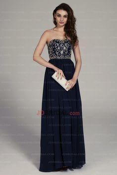 7df66e8991 2015 Tasteful Embroidered Beads Working Strapless A Line Navy Blue Prom  Dress. JDBRIDAL · Evening Dresses