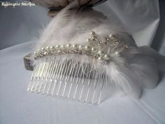 White Feather Bridal/Christmas Comb  Vintage by RainwaterStudios, $18.00
