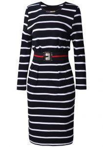 Black White Striped Long Sleeve Belt Dress