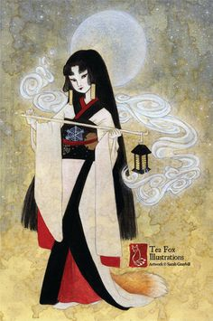She is a Japanese fox spirit, dressed in a snow white kimono trimmed in black, and appears under veils of incense smoke on moonlit nights.