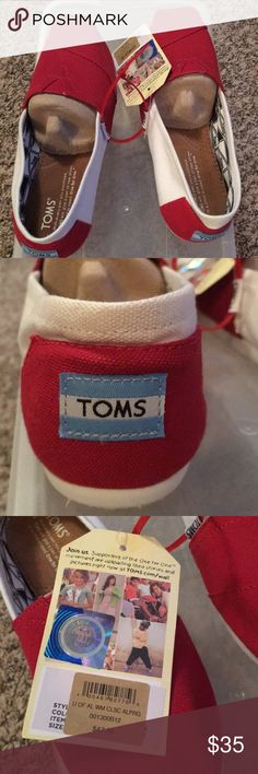 New TOMS Shoes New TOMS red and white shoes. Toms Shoes Flats & Loafers