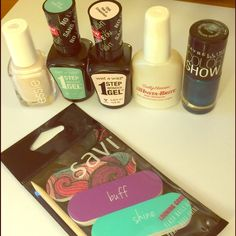 Nail care bundle All nail polishes only used once to try, nail file kit brand new never used. Essie Makeup