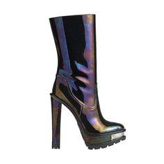 Lug Sole Mid Shaft Boot with Metal Plated Platform and Heel