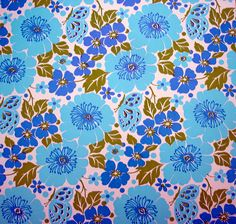 vintage wrapping paper with blue flowers