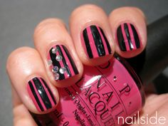 pink and black stripes.