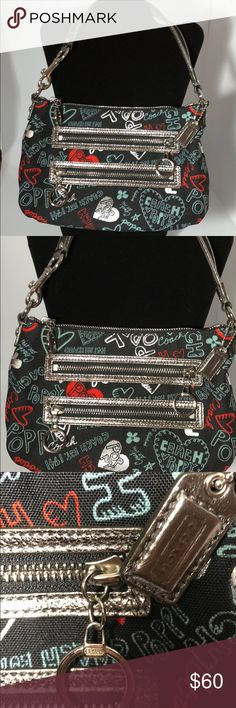 """Coach Poppy Graffiti purse Coach Limited Edition canvas graffiti print purse with metallic features. 7 1/2""""drop, 11 1/4"""" Length, 6 1/2"""" height. Inside zip multifunctional pockets outside zip pockets. Smoke/pet free. No crossbody strap. Like new. Very nice 👍🏾👌🏽👀⭐️💕🎉 Coach Poppy Bags Shoulder Bags"""
